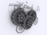 3D CAD Model Gears and Drawing