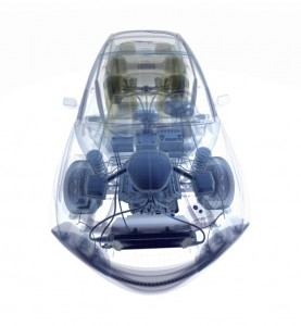 A 3D x-ray CAD model of a car
