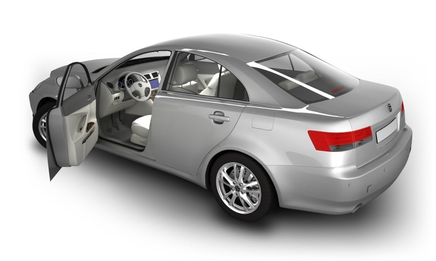A 3D CAD model of a car with its door open