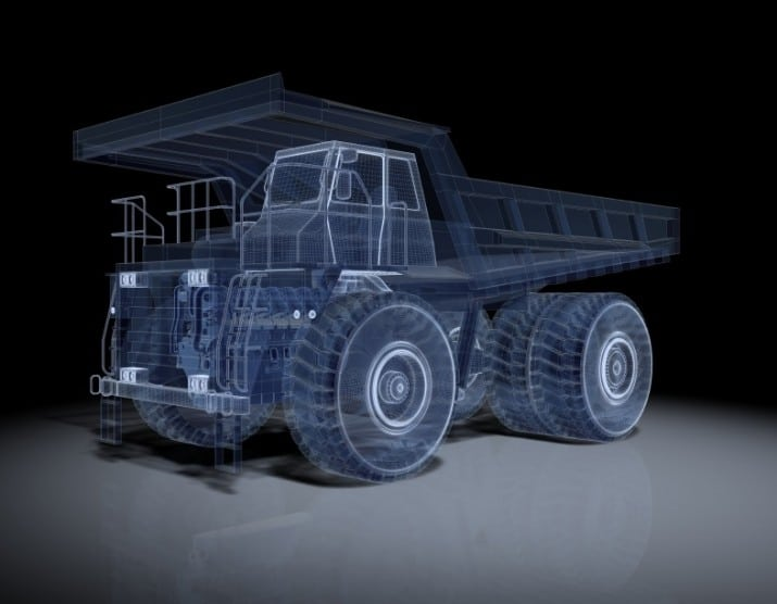 3D CAD Model Earth Mover Wireframe