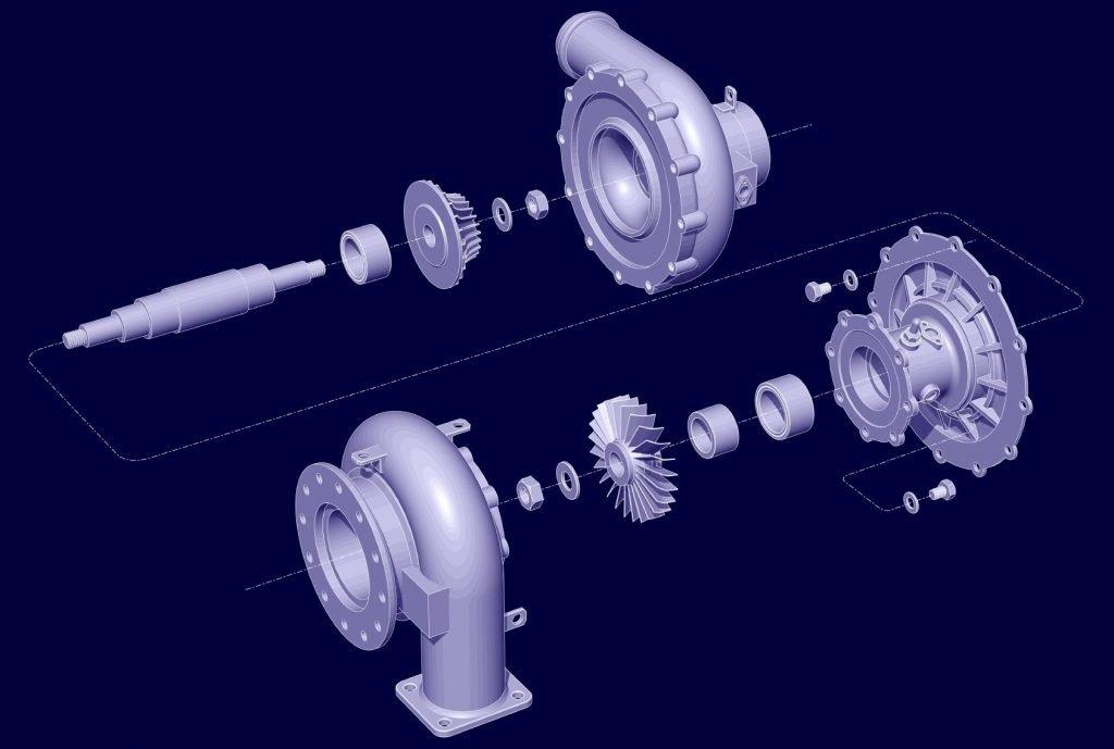 3D CAD Model Turbine Exploded