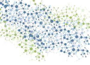 Material Science / color molecule connection vector background