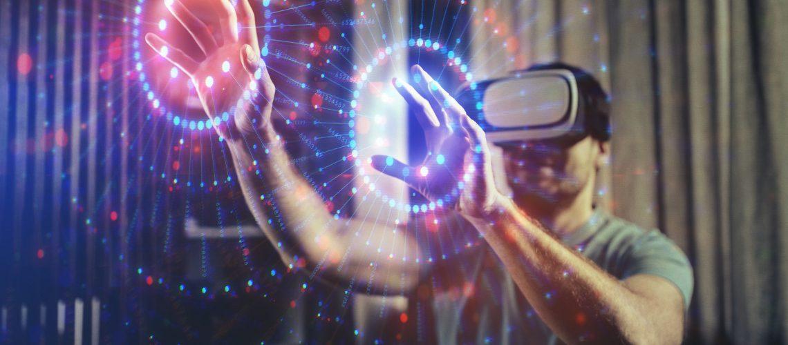 Cute Boy Browsing a Virtual World in Virtual Reality Glasses