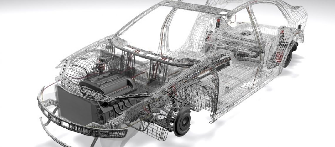 A 3D wireframe CAD model of a car with an engine and suspension